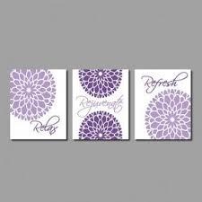 x lavender gray bathroom modern floral flower flourish artwork set of  trio prints