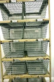 metal baskets to hang on wall mounted wire storage great basket mount rack shelf shelves display