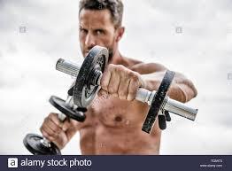 Man Sportsman Weightlifting Athletic Body Dumbbell Gym