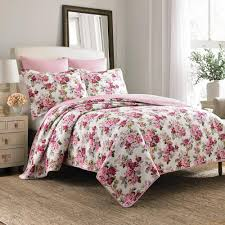 laura ashley lidia 3 piece pink king quilt set