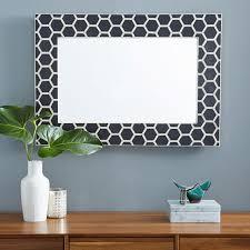 bone inlay honeycomb design mirror