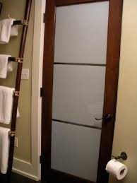 modern interior bathroom door with frosted glass