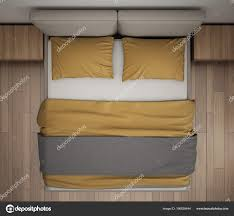double bed top view.  Top Modern Bedroom Top View Closeup Double Gray Yellow Bed Parquet U2014 Stock Photo On E