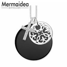 mermaidea cross disc pendant necklaces cross black onyx disc flower ornament pendant necklaces women men silver