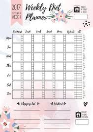 Weekly Diet Planner Vector Printable Page For Female Notebook