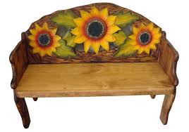 mexican painted furnitureSunflower Hand Painted Solid Wood Rustic Bench Furniture  Mexican