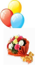 3 air inflated balloons with 6 mix carnations hand tied red wrapping