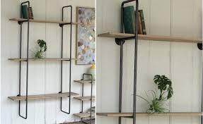 wooden wall shelf three tiered metal frame wall shelf with wooden shelves industrial shelf metal wooden wall shelf