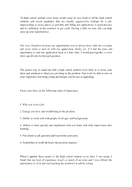 Resume Example Sample Cover Letters For High School Students