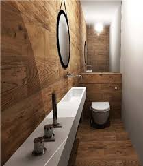 laying tile in bathroom. Fabulous Brown Tile Flooring Ideas For Small Bathrooms With Chic Floating Shelves And Black Round Mirror Laying In Bathroom