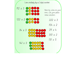 3 Digit Place Value Chart Place Value Charts And Multiplying By A 1 Digit Number