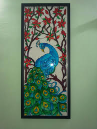 Glass Painting Ideas Designs A Glass Painting Of A Peacock Using Fevicryl Hobby Ideas