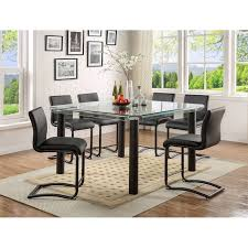acme gordias counter height table in clear glass and black