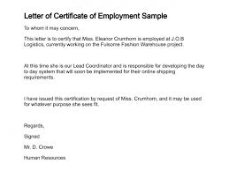 Format Of Employer Certificate Letter Of Certificate