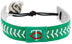 gamewear minnesota twins leather baseball bracelet