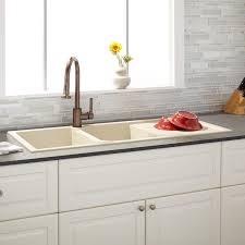 46 tansi double bowl drop in sink with drainboard beige