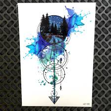 акварель геометрический круг стрелка временная татуировка водонепроницаемый