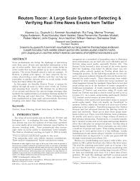 PDF) Reuters Tracer: A Large Scale System of Detecting & Verifying  Real-Time News Events from Twitter