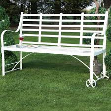 white wrought iron garden furniture. SEND TO A FRIEND : Brierley Wrought Iron Garden Bench In Antique White Furniture