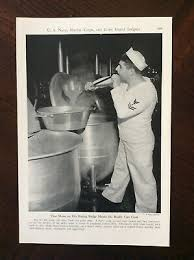 Navy Cook 1943 Vintage Original Magazine Photo Navy Cook Has Moon And