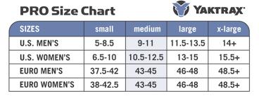 Yaktrax Pro Size Chart Pro