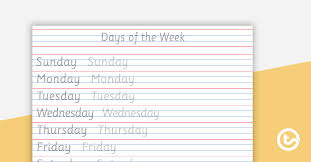 Hand Writing Sheets Handwriting Sheet Days Of The Week Teaching Resource