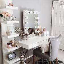 Come find inspiration to create your own pretty vanity in your home! Every  girl needs one!- desk- home decor- makeup room