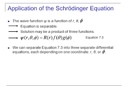 of the schrödinger equation the wave function ψ is a function of r θ