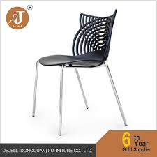 2017 lastest design stylish new plastic chair with chrome metal legs