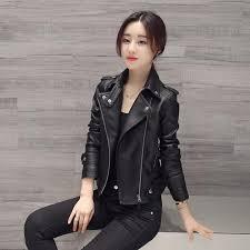 women faux leather jacket slim long sleeve faux pu zipper female coat lady y black motorcycle jacket outerwear black leather er jacket las leather