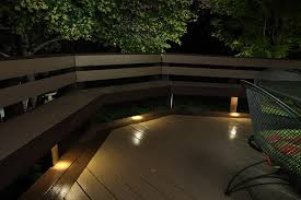 dekor led recessed down lights provide subtle lighting under deck benches