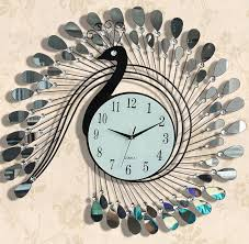 peacock quartz fashion wall clock modern style wall metal clock art acrylic decoration stainless steel iron design wall clock in wall clocks from home  on wall clock art design with peacock quartz fashion wall clock modern style wall metal clock