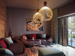 cool pendant lighting and curved bold living room furniture