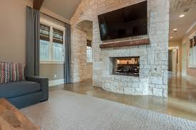 Stone Feature Wall & Fireplace transitional-family-room