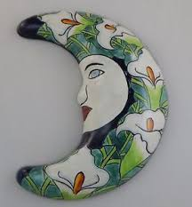 image is loading mexican talavera ceramic moon face wall decor hanging  on talavera ceramic wall art with mexican talavera ceramic moon face wall decor hanging pottery calla