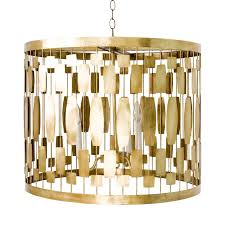 worlds away leona gold leaf wire drum pendant with 3 light candle cer