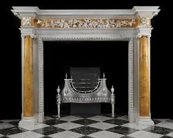 antique georgian fireplace mantel with sienna marble columns
