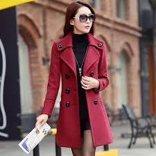 2016 double ted trench coat for women wool female overcoat red womens winter dress coats home