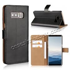 whole luxury genuine leather magnetic flip wallet case stand cover for samsung galaxy note 8
