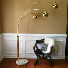 vintage brass arc floor lamp mid century orb metallic brass arc lamp u63