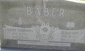 Albert Thornhill Baber and Lillian Faye Baber, Centenary United Methodist  Church Cemetery