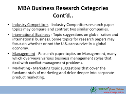 mba business research paper topics  6 mba business