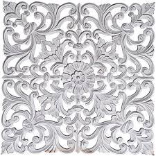 surya ria distressed white carved wood wall art