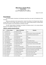 Mla List Tripura Assembly Election 2018 Bjp Releases First List Of 44