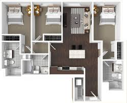 bedroom floor plan. Three Bedroom Floor Plan With 1,181 Square Feet Of Space, Two Bedrooms, Private