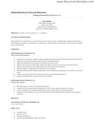 Data Entry Resume Template Simple Examples Clerical Resumes Administrative Clerk Resume Sample
