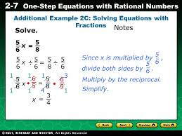 evaluating algebraic expressions 2 7 one step equations with rational numbers 5656 5858