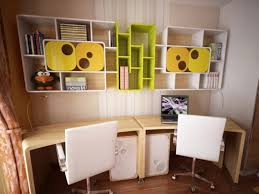 study room furniture ideas. Contemporary Study Room Decorating Ideas With White Chairs And Cute Floating Shelves Furniture