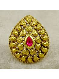Traditional Ring Designs In Gold Indian Ethnic Traditional Gold Plated Adjustable Ring