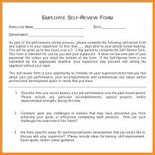 Self Appraisal Examples Employee Evaluation Example Assessment Form ...